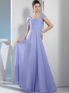 A-line Bateau Floor-length Chiffon Cap Sleeves Tiered Prom Dresses