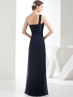 Column One Shoulder Floor-length Chiffon Side-draped Evening Dresses