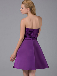 A-line Scalloped-edge Short Stretch Satin Tiered Cocktail Dresses