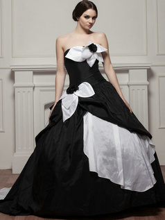Ball Gown Strapless Brush Train Taffeta Flower Prom Dresses