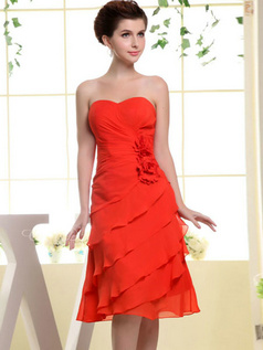 A-line Sweetheart Knee-length Chiffon Flower Side-draped Prom Dresses
