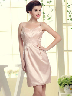 Column Spaghetti Straps Short Satin Beading Bridesmaid Dresses
