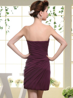 Column Tube Top Short Chiffon Side-draped Bridesmaid Dresses