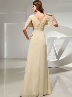 Column V-neck Floor-length Chiffon Short Sleeve Evening Dresses With Crystal