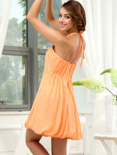 A-line Halter Short Chiffon Draped Bridesmaid Dresses
