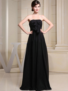 Column Tube Top Floor-length Chiffon Bowknot Flower Evening Dresses