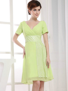A-line V-neck Short Chiffon Short Sleeve Sequin Bridesmaid Dresses