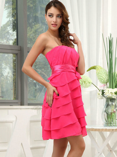 A-line Tube Top Short Chiffon Bowknot Tiered Cocktail Dresses