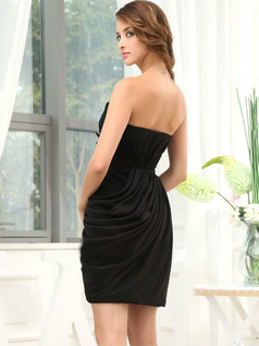 Column Sweetheart Short Stretch Satin Side-draped Prom Dresses With Feathers