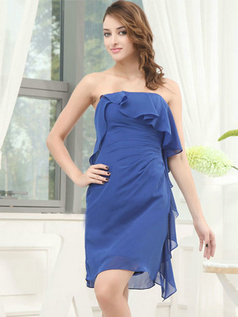 Column Tube Top Strapless Short Chiffon Side-draped Prom Dresses