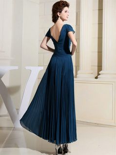 Column V-neck Ankle-length Chiffon Short Sleeve Draped Evening Dresses