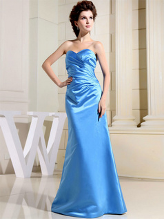 Column Sweetheart Floor-length Satin Side-draped Prom Dresses