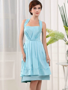 A-line Halter Knee-length Stretch Satin Draped Prom Dresses