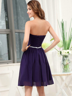 A-line Sweetheart Short Chiffon Tiered Draped Prom Dresses