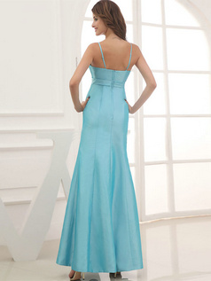 Mermaid Spaghetti Straps Floor-length Taffeta Crystal Prom Dresses