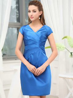 Column V-neck Short Satin Short Sleeve Side-draped Prom Dresses