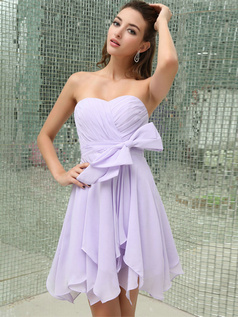 A-line Sweetheart Short Chiffon Bowknot Tiered Bridesmaid Dresses