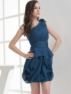 Column One Shoulder Short Chiffon Side-draped Prom Dresses