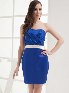 Column Sweetheart Short Stretch Satin Sashes Cocktail Dresses
