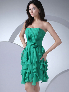 A-line Strapless Short Chiffon Flower Tiered Cocktail Dresses