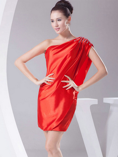 Sheath Asymmetrical Collar Short Stretch Satin Short Sleeve Cocktail Dresses With Crystal