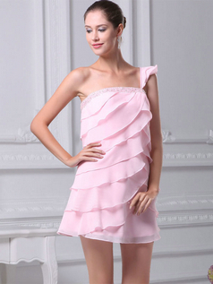 A-line One Shoulder Short Chiffon Beading Cocktail Dresses