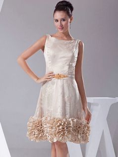 A-line Bateau Knee-length Beading Sequin Lace Cocktail Dresses