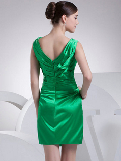 Sheath V-neck Short Stretch Satin Crystal Cocktail Dresses