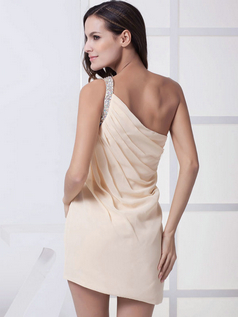 Sheath One Shoulder Short Chiffon Side-draped Cocktail Dresses