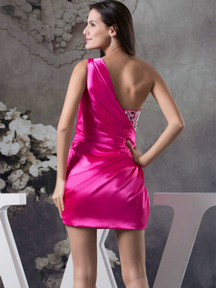 Sheath One Shoulder Short Stretch Satin Beading Cocktail Dresses