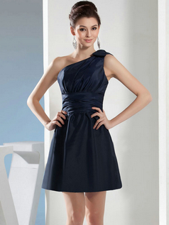 A-line One Shoulder Short Taffeta Tiered Cocktail Dresses