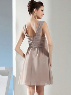 A-line Straps Short Chiffon Draped Cocktail Dresses