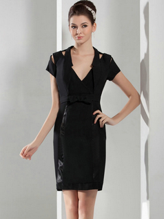 Sheath V-neck Knee-length Stretch Satin Short Sleeve Cocktail Dresses With Sashes