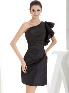 Sheath Asymmetrical Collar Short Taffeta Short Sleeve Cocktail Dresses With Side-draped