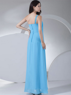 Column One Shoulder Floor-length Chiffon Sequin Cocktail Dresses With Beading