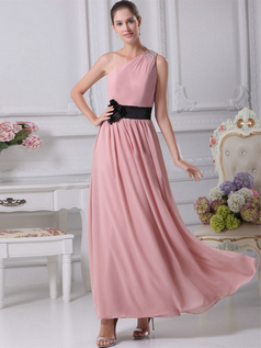 A-line One Shoulder Ankle-length Chiffon Beading Evening Dresses