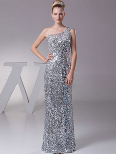 Sheath One Shoulder Floor-length Sequined Sequin Prom Dresses
