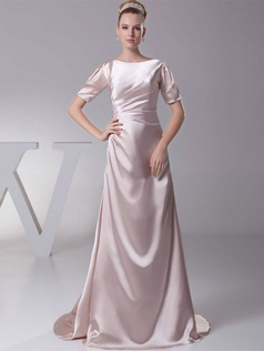 Over Hip Bateau Brush Train Stretch Satin Short Sleeve Evening Dresses With Beading