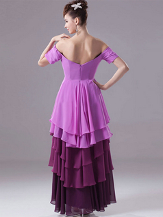 A-line Off-the-shoulder Ankle-length Chiffon Short Sleeve High Low Prom Dresses With Beading