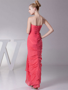 Sheath Strapless Floor-length Chiffon Side-draped Evening Dresses