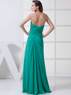 A-line Strapless Floor-length Chiffon Crystal Side Split Prom Dresses