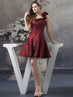 A-line One Shoulder Short Taffeta Flower Prom Dresses