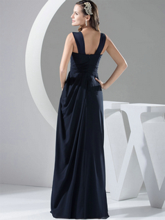 Column Straps Floor-length Chiffon Side-draped Evening Dresses