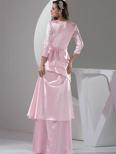 Column V-neck Floor-length Satin 3/4 Length Sleeve Crystal Prom Dresses With Semi Transparent
