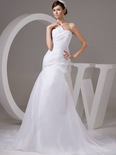 Mermaid One Shoulder Brush Train Organza Tiered Evening Dresses