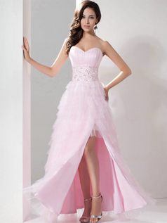 A-line Sweetheart Floor-length Organza Split Front Crystal Prom Dress