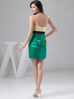 Sheath Sweetheart Short Satin Bowknot Tiered Cocktail Dresses