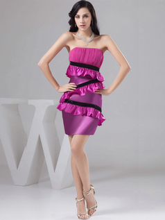 Sheath Tube Top Strapless Short Satin Homecoming Dresses