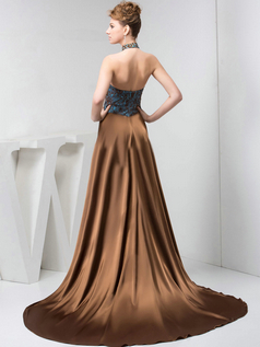A-line Halter Sweep Stretch Satin Split Front Sequin Prom Dresses