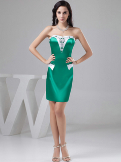 Sheath Sweetheart Strapless Short Satin Crystal Cocktail Dresses